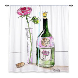 "DiaNoche Designs - Window Curtains Unlined - Marley Ungaro Rose Wine - DiaNoche Designs works with artists from around the world to print their stunning works to many unique home decor items.  Purchasing window curtains just got easier and better! Create a designer look to any of your living spaces with our decorative and unique ""Unlined Window Curtains."" Perfect for the living room, dining room or bedroom, these artistic curtains are an easy and inexpensive way to add color and style when decorating your home.  The art is printed to a polyester fabric that softly filters outside light and creates a privacy barrier.  Watch the art brighten in the sunlight!  Each package includes two easy-to-hang, 3 inch diameter pole-pocket curtain panels.  The width listed is the total measurement of the two panels.  Curtain rod sold separately. Easy care, machine wash cold, tumble dry low, iron low if needed.  Printed in the USA."