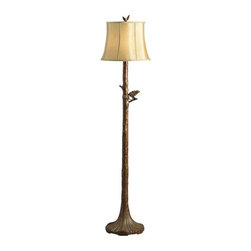 Kichler Lighting - The Woodlands 1-lt Floor Lamp - This refined 1 light floor lamp from the Woodlands collection will add dimension to any space in your home. Featuring a unique Woodbark finish and a Light Caramel Soft Back shade, this design forms a traditional profile.