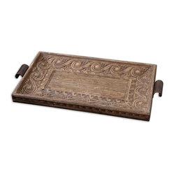 Uttermost - Camillus Wood Framed Decorative Tray - This remarkable tray, the work of designer Billy Moon, is created by compressing banana tree bark over metal. Whether you use it for entertaining or simply put it out on display, it adds unique natural distinction to your favorite setting.