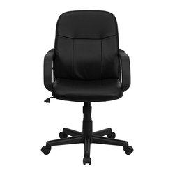 Flash Furniture - Flash Furniture Mid Back Glove Vinyl Executive Office Chair in Black - Flash Furniture - Office Chairs - H8020GG - Very affordable computer chair that will provide you with the right amount of comfort needed for browsing the internet and completing work related tasks. Chair provides passive ergonomic seating with built-in lumbar support. The mid-back design makes it a perfect desk chair especially for smaller work spaces, but still doesn't compromise on its appeal and features. [H8020-GG]