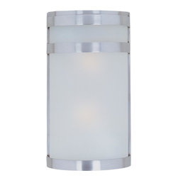 Joshua Marshal - Two Light Frosted Glass Stainless Steel Outdoor Wall Light - Two Light Frosted Glass Stainless Steel Outdoor Wall Light