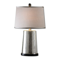 Uttermost - Uttermost Arnez Mercury Glass Table Lamp 27694 - Speckled mercury glass accented with a black foot. The tapered oval hardback shade is a silken taupe gray fabric with natural slubbing.