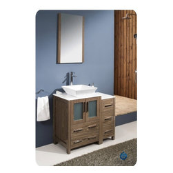 "Fresca - Fresca FVN62-2412WB-VSL Torino 36"" Walnut Brown Bathroom Vanity W/ Side Cabinet - Fresca FVN62-2412WB-VSL Torino 36"" Walnut Brown Modern Bathroom Vanity W/ Side Cabinet & Vessel Sink"