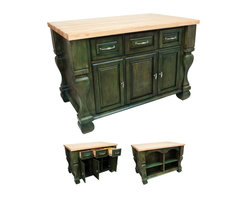 """Hardware Resources - Lyn Design Kitchen Island - Kitchen Island by Lyn Design. Featuring full extension slides on drawers, soft-close European hinges, and fully adjustable shelves. 1-3/4"""" Maple Butcher Block Top Sold Separately. DIMENSIONS: 53-1/2"""" x 33-3/4"""" x 35-1/2"""" FINISH: AQU Aqua Green with 718BNMDL hardware."""
