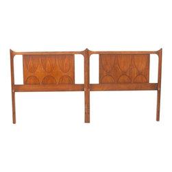 Broyhill Furniture Company - Consigned Mid Century Modern Walnut Broyhill Brasilia Twin or King Headboard - • Mid Century | American Modern