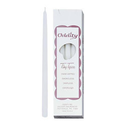 """Oddity - Oddity 1/2""""x 10"""" White Tiny Taper Candle - Tiny Tapers are a specially designed thin, yet tall taper candle. At only 0.5"""" wide and 10 inches tall these candles are a very hard to find item. Sold in a box of 12 candles."""