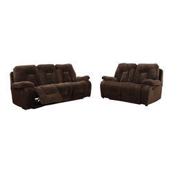 Global Furniture USA - U2007 Brown Champion Froth Fabric Three Piece Sofa Set With Built-in Recliners - The U2007 sofa set will add a stylish modern design with a traditional look that works well with any decor. This sofa set comes upholstered in a beautiful brown champion fabric on the seating area. The fabric is very plush and soft to the touch. High density foam is placed within the cushions for added comfort. The sofa set features built-in recliners on each piece for that added touch of relaxation. The price shown includes a sofa, loveseat, and chair only.