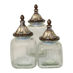 ecWorld - Urban Designs Baroque Gift 3-Piece Glass Canister Set - Antique Gold Lids - Add endless refinement to your kitchen with these smart canisters that bring new life to snacks, ingredients and other cooking essentials by trapping in freshness and keeping out moisture and air. These glass canisters come in three sizes, each with a wide mouth and tight-fitting lid, making them versatile and indispensable in the kitchen