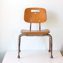 Mid Century Child's School Chair - I love these old schoolhouse chairs: they're sturdy and industrial, and equally cute. They're kid-sized but would also be great for using as a little side table for a stack of books or magazines.