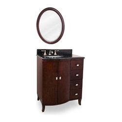 Lyn Design - Modern Vanity w Oval Mirror - Faucet not included. Transitional style. Frank Lloyd Wright designs. 0.99 in. black granite top. Faucet holes cut for 8 in. spread. Two doors. Four drawers. Stain nickel hardware. Four solid wood dovetail drawers off-center. Large cabinet for storage. Drawers equipped with full extension self-closing ball bearing drawer slides. Amber-colored mica glass inserts in the cabinet doors. Mirror with beveled glass. Made from birch solid wood and mahogany veneers. Mahogany finish. Bowl: 15 in. W x 12 in. H. Backsplash: 29 in. W x 4 in. D x 0.79 in. H. Vanity: 29 in. W x 22.5 in. D x 35 in. H. Mirror: 22 in. W x 27.25 in. HThis solid wood vanity is inspired classic by the Arts and Crafts era. The narrow design fits easily into most spaces and a large cabinet provides ample storage.