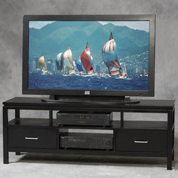 Linon - Plasma TV Center in Black Finish - Sutton Collection. TV not included. 2 Large drawer. 1 Fixed and divided shelf. Contemporary chrome finished hardware . Constructed from rubber wood veneers over particle board and MDF. Minimal assembly required. 54 in. W x 18 in. D x 20 in. H. Center opening: 14 in. W x 16 in. D x 6.75 in. H. TV Max: 52 in. Diagonal (150 lbs.). Shelf: 50 lbs. max. Drawer: 25 lbs. maxThe simple beauty of Sutton Plasma TV Center is enhanced by the contemporary black finish. The Sutton Collection is suitable for any contemporary or traditional decor. The TV Center has two drawers and ample shelving allow you to store your electronics and media in style.