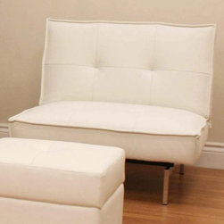 Dorel Home Products - Belle Armless Chair in White - Elegant and modern styling. Tufted seats. Easy to clean. Chrome metal feet. Rich faux-leather upholstery. Warranty: One year. 35 in. W x 30.5 in. D x 32.1 in. H (47 lbs.). Assembly InstructionsPair it with the matching Belle futon for a complete look.