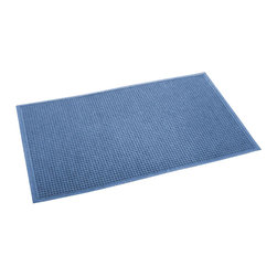 Bungalow Flooring - 36 in. L x 60 in. W Medium Blue Waterguard Squares Mat - Made to order. Crisp squares design traps dirt, resists fading, rot and mildew. Indoor and outdoor use. 36 in. L x 60 in. W x 0.5 in. H