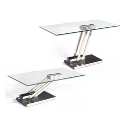 Chintaly Imports - Ryan Cocktail Table with Adjustable Steel Base - Features: