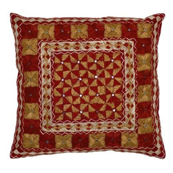 Rizzy Home - Red and Gold Decorative Accent Pillows (Set of 2) - LT0100 - Set of 2 Pillows.