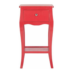 One Drawer End Table in Red - Brighten any room with the curvaceous lines and traditional charm of the Safavieh Thelma end table. Crafted of pine wood with hot red finish, this single drawer table with lower shelf is the perfect accent to country or coastal interiors.  Use the Thelma end table alone beside a chair, or in pairs on either end of a sofa or bed.
