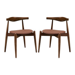 Stalwart Dining Side Chairs Set of 2 - Trusted and dependable, the Stalwart solid beech wood dining chair is a model for a design made right. From the elongated backrest to the petite but discriminate tapered legs, Stalwart combines diverse woodworking elements for a singular style that pleases the finest sensibilities. Complete with a comfortable foam cushion upholstered in vinyl, Stalwart is a side dining chair that looks simple but carries a deep richness that is best appreciated over time.