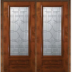 "Pre-hung Home Double Door 80 Alder Marsala 1 Panel 3/4 Lite Glass - SKU#    E08572-G-DE34M2Brand    GlassCraftDoor Type    ExteriorManufacturer Collection    3/4 Lite Entry DoorsDoor Model    MarsalaDoor Material    WoodWoodgrain    Knotty AlderVeneer    Price    4255Door Size Options      +$percentCore Type    Door Style    Door Lite Style    3/4 LiteDoor Panel Style    1 PanelHome Style Matching    Door Construction    EstanciaPrehanging Options    PrehungPrehung Configuration    Double DoorDoor Thickness (Inches)    1.75Glass Thickness (Inches)    Glass Type    Triple GlazedGlass Caming    Oil Rubbed Bronze , Satin NickelGlass Features    Tempered , BeveledGlass Style    Glass Texture    Glass Obscurity    Door Features    Door Approvals    Wind-load Rated , SFI , TCEQ , AMD , NFRC-IG , IRC , NFRC-Safety GlassDoor Finishes    Door Accessories    Weight (lbs)    603Crating Size    25"" (w)x 108"" (l)x 52"" (h)Lead Time    Slab Doors: 7 Business DaysPrehung:14 Business DaysPrefinished, PreHung:21 Business DaysWarranty    One (1) year limited warranty for all unfinished wood doorsOne (1) year limited warranty for all factory?finished wood doors"