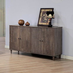 None - Vilas Light Charcoal Grey Buffett - Add a stylish look to any space with this light charcoal grey Vilas buffett. Adjustable shelving and a rubberwood construction finish this buffett.