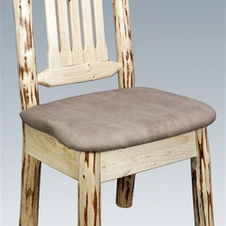 Montana Woodworks - Upholstered Dining Chair - Hand crafted. Upholstered seat in the sand pattern. Skip peeled by hand using old fashioned draw knives. Heirloom quality. Solid lodge pole pine. Contoured and comfortable seat. Slat style back increases comfort. Made from U.S. solid grown wood. Lacquered finish. Made in U.S.A.. No assembly required. Seat height: 18 in.. Overall: 19 in. W x 18 in. D x 38 in. H (20 lbs.). Warranty. Use and Care InstructionsThis wonderful dining chair is as comfortable as it is unique. This chair incorporates the tried and true mortise and tenon joinery system that has served as a symbol of durability for millennia. Each piece signed by the artisan who makes it.