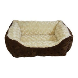 Happy Tails Polka Dot Cuddler with Swirl Dog Bed - 17L x 20W in. - This adorable dog's bed will make both your pet and you happy. Choose from a variety of colors. Polyester outer for easy care.
