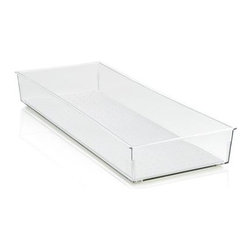 Madesmart® Clear 16x6 Drawer Bin - Generous in-drawer bin stores a variety of household and utility items with a nonslip surface and rubber feet to stabilize the base. Additional sizes are available for customized organization.