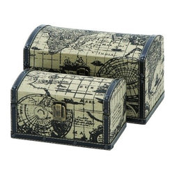Benzara - Two Travel Chests with Ancient World Map - Two travel chests with ancient world map.