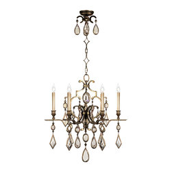 Fine Art Lamps - Encased Clear Crystal Gems Chandelier, 718240-3ST - Give your room a shot of vintage glamour with this candelabra chandelier decked out in sparkling crystal bling. Faceted drops and diamonds complement the antique bronze finish and twinkle warmly in the candlelight. Put it next to a velvet chair and they will be best friends.