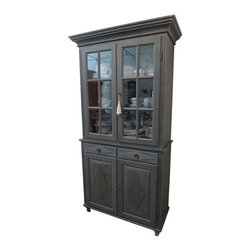 Gustavian - Pre-owned Gustavian Tall China Cabinet - Dark Gray - This sophisticated yet casual designed Historical Reproduction piece is made in Sweden by craftsmen who continue to preserve the tradition of Gustavian furniture making and design. The design is developed with careful attention to scale, proportion and ornamental details and finished used finishing metheods practiced in Sweden for centuries.