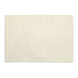 Cream Diamond Pintuck Custom Placemat Set - Is your table looking sad and lonely? Give it a boost with at set of Simple Placemats. Customizable in hundreds of fabrics, you're sure to find the perfect set for daily dining or that fancy shindig. We love it in this lightweight solid cream cotton with textured pintucks in a small diamond pattern.