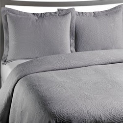 Vue - VUE Royal Medallion Matelasse Coverlet in Grey - Enjoy the luxurious softness and style of this Royal Medallion matelasse coverlet.