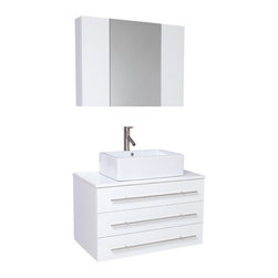 Fresca - Fresca Modello White Modern Bathroom Vanity w/Ceramic Sink & Medicine Cabinet - Okay okay, we're going to brag. Our most popular piece comes in pint size! Perfect for one or smaller space.