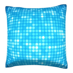 Custom Photo Factory - Multiples Blue Dots Pillow.  Polyester Velour Throw Pillow - Multiples Blue Dots Pillow. 18 Inches x 18  Inches.  Made in Los Angeles, CA, Set includes: One (1) pillow. Pattern: Full color dye sublimation art print. Cover closure: Concealed zipper. Cover materials: 100-percent polyester velour. Fill materials: Non-allergenic 100-percent polyester. Pillow shape: Square. Dimensions: 18.45 inches wide x 18.45 inches long. Care instructions: Machine washable