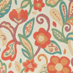 Teal, Green, Orange and Beige, Floral Contemporary Upholstery Fabric By The Yard - This contemporary upholstery jacquard fabric is great for all indoor uses. This material is uniquely designed and durable. If you want your furniture to be vibrant, this is the perfect fabric!