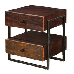 Marco Polo Imports - Parker Industrial End Table - This elegant end table combines the rustic charm of natural wood with contemporary designs, giving new life to salvaged wood. The cast metal hardware creates a hand-crafted, singular look, ensuring that each piece is truly unique.