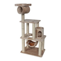 """MAJESTIC PET PRODUCTS - 62"""" Casita Cat Tree - Every king needs a castle, a princess her palace. The same is true for a pet. This grand condo for your kitty could also be thought of as a fortress for your feline, thanks to the included tunnel and turret."""