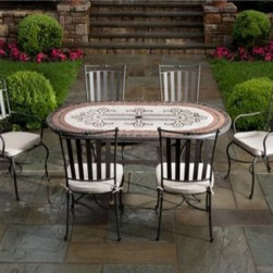 Orvieto Mosaic Patio Dining Set - Seats 6 - Elegant, sophisticated, and stunning, the gorgeous Orvieto Mosaic Patio Dining Set - Seats 6 combines contemporary style with classic mosaic tile work. With warm, natural colors set off by strategically placed red tiles, this patio set stands out and makes a statement. The table frame is crafted from hand forged wrought iron dipped in a zinc-phosphate bath and E-coated to create a weather-resistant coating. It's finished with a powder coating to provide an extra layer of rust-resistant protection. Each mosaic tile on the table top is made from natural sources such as marble, slate, and travertine, and hand-set so no two tables are exactly the same. The top is then grouted with industrial adhesives for durability so the natural beauty of this table is maintained. Able to sit up to six people, you'll be able to have friends and family over for brunch, evening meals, and dinner parties on the patio during the warm summer months. Each chair is fully welded so there is no hardware to loosen over time. With clean lines and a slatted back, these chairs have a modern look and feel to them. Comfortable cushions in natural tones are included and give your patio an inviting air while maintaining its luxurious and elegant style. Two included arm chairs are perfect end chairs and completes the look of this patio set. An umbrella hole in the center gives you the option of adding an umbrella to provide shade during those sunny days and evenings, and also gives you a chance to add an accenting color to this patio dining set. Friends and family will love spending hours outdoors, visiting with friends, enjoying good food and drinks, and perhaps even indulging in a card game or two while the weather is warm. A dining set is a versatile addition to any patio, and the Orvieto Mosaic Patio Dining Set makes the choice an easy one. Additional Features Beautiful, warm tones with a touch of red Elegant and detailed pattern in the center Contemporar