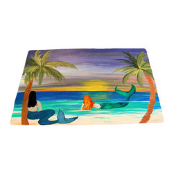 "xmarc - Mermaid Area Rugs, Coastal Mermaids, 96""X 48"" - Coastal mermaids area rugs, art appears on the top side, which is made of a soft plush fabric. Bottom is made of durable white rubber mat with rounded and sewn corners."