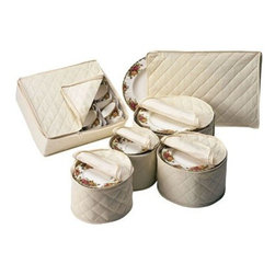 """Richards Homewares - China Storage - Padded Cotton 6 Piece Set - Protect your fine china and delicate porcelain serving pieces from chips and dust with these 100% natural cotton (with vinyl lining) china keepers. Designed to safely stack and store a service for 12, the elegant off-white quilted protective cases include dividers to prevent chipping. Six-piece set includes: Platter Case (1""""H x 11.5""""W x 8""""D), Saucer Case (7""""dia.), Dessert Dish Case (8""""dia.), Salad Plate Case (9.5""""dia.), Dinner Plate Case (12""""dia.), Cup Case (4""""H x 11.5""""W x 13.5""""D). These storage sets do not unzip all the way around, however they do unzip approximately 3/4 of the way and the fact that these cases are soft and pliable makes it easy to insert china."""
