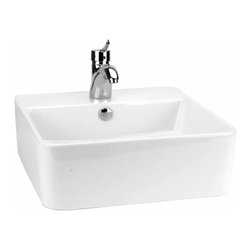 Renovators Supply - Vessel Sinks White Square Sink London Vessel Sink - Square Sinks Bathroom, Square China Vessel Sinks: Modern and distinctive, the London vessel sink will sit prominantly on a countertop or in a corner. Constructed of grade A vitreous china in white gloss finish. This sink does not include faucet or drain. Sold individually.