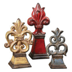 "Uttermost - Esa Distressed Fleur-De-Lis Set of 3 - Decorative Ceramic Fleur-de-lis Accessories Features Distressed, Crackled Finishes In Tones Of Red, Yellow And Light Blue With Antiqued Khaki Undertones. Sizes: Sm-5x8x4, Med-6x10x4, Lg-5x13x4; Collection: Esa; Material: Ceramic; Finish: Distressed, Crackled Ceramic In Tones Of Red, Yellow And Light Blue With Antiqued Khaki Undertones.; Dimensions: 4""D x 5""W x 12.5""H; Uttermost's Vases, Urns & Finials Combine Premium Quality Materials With Unique High-style Design.; With The Advanced Product Engineering And Packaging Reinforcement, Uttermost Maintains Some Of The Lowest Damage Rates In The Industry. Each Product Is Designed, Manufacturered And Packaged With Shipping In Mind."