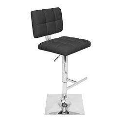Lumisource - Glamour Barstool in Black - 360 degrees swivel. Polished chrome footrest. Unique square trumpet base. Made from PU, foam and chrome. Black finish. Assembly required. Seat height: 25.25 in. to 33.25 in.. 19 in. W x 16.75 in. D x 37.25 to 45.25 in. H (23 lbs.)With a name like Glamour, you know you can expect a new, exciting barstool. A stylish tufted seat combines comfort with glitz.