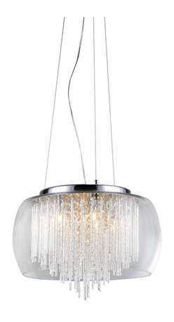 Warehouse of Tiffany - Odysseus' Chrome and Crystal 5-light Chandelier - Add some elegance to your home with this 'Odysseus' chrome chandelier. This dynamic lighting element features generous rows of cascading crystals to catch the light and steal the attention in any room. Setting: IndoorFixture finish: ChromeMaterial: Metal and crystalSwitch: HardwiredNumber of lights: Five (5)Requires five (5) 40-watts bulbs (not included)Dimensions: 22 inches long x 15 inches wide x 8 inches tallThis fixture does need to be hard wired. Professional installation is recommended.Attention California Residents: This product contains Lead, a chemical known to the State of California to cause cancer and other reproductive harm.CSA Listed, ETL Listed, UL Listed