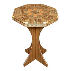 MBW Furniture - Syrian Handmade Mosaic Occasional Side End Table w/ Mother of Pearl - Imported from Syria Kiln Dried Solid Walnut ConstructionExotic Hand Inlaid WoodsGenuine Inlaid Mother of PearlGorgeous Mosaic DesignsGently Curved Interlocking LegsSuperior Craftsmanship100% HandmadeStrong & SturdyThis beautiful mosaic accent  table is handcrafted in Syria using kiln dried and treated solid walnut with hand cut exotic woods (Rose, Peach, Olive, Walnut, Cherry and Cedar) which are inlaid by hand into the table and then embellished with gorgeous genuine Mother of Pearl. The stunning mosaic designs are quite captivating. The octagonal top fits snugly on the curved interlocking legs. This beautiful and rare table will make a proud addition to your collection. Order yours today!This table breaks down into 3 pieces for easy shipping.