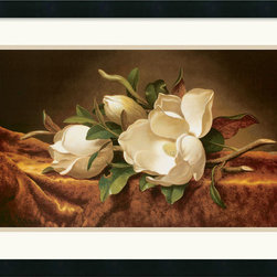Amanti Art - Magnolias on Gold Velvet Cloth Framed Print by Martin Johnson Heade - Luminous magnolias lie upon a richly textured velvet cloth in this exquisitely rendered still life with flowers. With its timeless subject matter and appeal, this artwork will beautifully complement a wide range of home decor styles, particularly traditional.