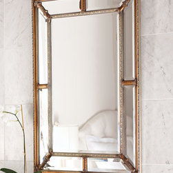 """John-Richard Collection - John-Richard Collection Beveled-Frame Mirror - Rectangles of mirrored glass mix with simple lines to frame this elegant mirror. Resin accents have a painted silvery and golden finish. Hang vertically or horizontally. 36.5""""W x 1.5""""D x 48""""T."""
