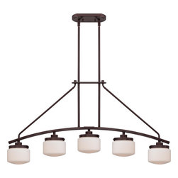 Nuvo Lighting - Nuvo Lighting 60/5124 Austin Five Light Island Fixture Finished In Russet Bronze - Austin - 5 Light Island Pendant w/ Etched Opal Glass