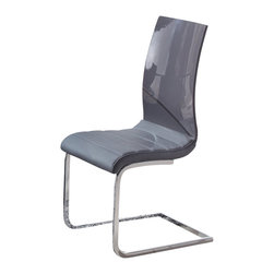 Global Furniture - Global Furniture USA 989DC Dining Chair in Grey with Chrome Legs (Set of 2) - These dining chairs are finished with an upholstered grey seat chrome legs and high back and will complement almost any dining table.