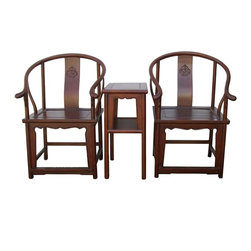 Golden Lotus - Chinese Horseshoes Armchair Table 3 Pieces Set - This is a set of traditional Chinese armchair set with two horseshoes-back armchair and one side table. It was used to meet friends or welcoming visitors in the grand room or livinging room. It has simple smooth curve finish on the body. Its clean and subtle design is good for simple room decoration.
