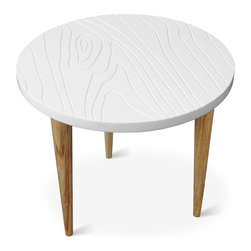 """Gus* - Root End Table - Root End Table  by Gus Modern    At A Glance:   Gus brings together contemporary and traditional materials in the blatantly faux Root Table. The white lacquered top has a wood pattern etched into its surface, and with the addition of the tapered ash legs, the table makes a weightless, airy impression.  What's To Like:  The Root End Table gives new meaning to the term """"wood grain"""" - its etched tabletop is a delightful parody of the pattern of a fresh-cut wood plank.We love the contrast between the tabletop's material and color and the solid tapered Ash legs.  What's Not to Like:   If you want a wood-look side table, the Root End Table won't be your cup of tea.  The Bottom Line:   The Root End Table by Gus Modern is a whimsical, light, modern re-interpretation of a natural wood side table. Also see the Root Coffee Table.  Features:    Overall: 17"""" h x 20"""" diameter FSC-Certified solid Ash"""